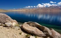 Zen moment.  Natural granite sculpture by the shores of Tso Moriri 4540m, Rupshu/Ladakh, Indian Himalaya.