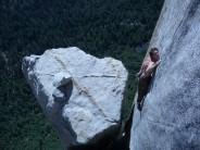 Free soloing high on Salathe