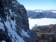 Mike Brownlow on the 'Traverse of the Gods', North Face of the Eiger.