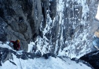 Mike Brownlow at the top of the Quartz Crack on the Exit Cracks of the North Face of the Eiger
