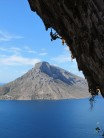 Emma Twyford on her successful onsight of Aegialis (F7c), Kalymnos