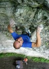 Adrian Berry on the final moves of Rubicon (F7a) at the eponymous crag