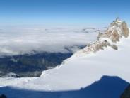 Aiguille du Midi and Arête des Cosmiques over Chamonix valley