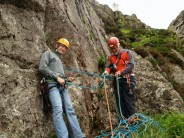 Gaz and Sir Chris Bonington just before the hand traverse pitch of Corvus