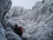 A frozen Y Garn gully