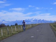 Cycling on la Saleve, looking towards Mont Blanc and the Alps.