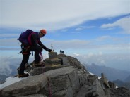 Tom Shaw on true Summit of Gran Paradiso, Route Normal from Vittorio Emmanuell Refuge grade PD-