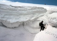Evading the cornice at top of Hell's Lum