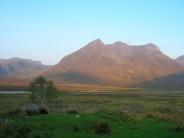 Early morning light on the corbett Beinn Dearg Mor from Shenevall Bothy.