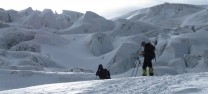 Resting below the ice fall, Muztagh Ata circa 5,600m