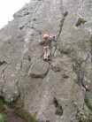Jowan age 5 going up the slab at Roche Rock(cornwall)