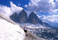 Approaching the Tres Cimes, Dolomites, Italy.