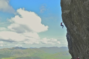Ed Brown just failing on the last crucial move of Entonox E6 (6c)   Scafell East Buttress