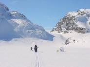 Ski-ing through the Kyrkjedori, Finse, Norway