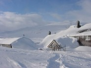 First up clears the drifts - the view from the loo, Geiterygghytta, Norway.