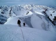 Approaching Nursultan (Komsomol) Peak, Dan Smith front, Sergey Samoilov rear