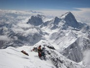 At 8,500m on the descent from the summit of Everest, with spectacular views of Makalu