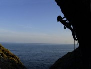 Donna Carless silhouetted at Foxhole Cove
