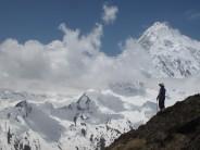 Lesley Burgess below Pangpoche summit, Manaslu dominates the vista