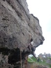 Just pulled over the crux mantle on Aching Arms and Dragging Heels 6c+
