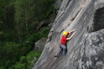 Getting ready for the crux of Sundowner, E2 5a.