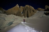 Full moon over the Torre massif on the approach to Exocet. One of my favourite shots.