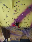 Liam pulling round on the new head wall. Now the highest climbing wall in England!