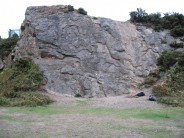 Markfield quarry, showing the Grey Slab Area; routes from Left Arete to Babbies Bottom are visible.