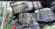 The Virus E5 6a ** First ascent Jumbly Hole Natural Edge AKA The Roost<br>© salancaster