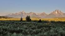 Early morning sun on the Grand Tetons