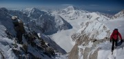 Stitched Pan on climber on the Upper West Rib of Denali- Foraker and Hunter in the distance<br>© Jon Griffith