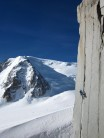 Cracklines from the Col du Midi, Mont Blanc du Tacul in the background.