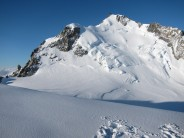 The view from the slopes of Mt Blanc du Tacul across Col Maudit to Mt Maudit