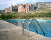 Riglos from pool at the campsite in Murello.