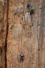Unknown climbers on Africa F6b+, The Gorge, El Chorro, taken from the walkway.
