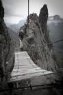 The rickety suspension bridge on Trincee