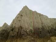 Circumvention (green) and Consolation (red) at Three Cliffs Bay