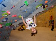 Felicity Ryan making good use of her gymnastic skills at the The Edge Climbing Gym, Half Moon, NY.