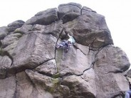 BrianT on Great Western at the Almscliff Rocktalk picnic, belayed by Sloper.