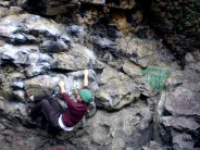 Trying some moves at Gollums Cave, Avon Gorge, Bristol
