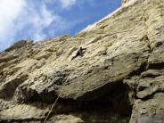 Mike R on traverse of Tudor Rose