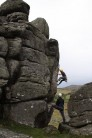 Climbing Suspension Flake between bouts of rain at Hound Tor.