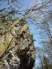Rhubarb Wall, great climbing on small edges and pockets. Full value for F6a+.