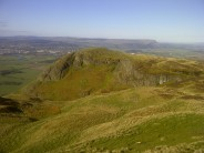 Looking across at Castle Law with Logie Buttress on the left.