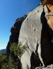 Malcolm Phelps high up on 20th Century Fox, (grade 20) Mount Fox, Grampian Mountains Australia