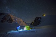 A snapshot from a life of adventure photographer. In the background climbers on Mont Blanc du Tacul.<br>© Kamil Tamiola