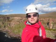 Me at the top of the Old Man of Hoy, more grimace than smile reflecting my feelings :-)