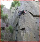 Denis self belaying on Slow Strain after clearing topout and anchors. 19-06-12