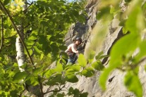 Leading pitch 2 of Angel's Girdle on a rare warm day in June 2012