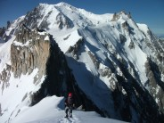 Coming up to the summit of the Midi Plan